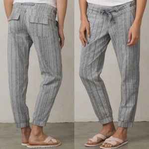 Prana Steph Jogger Grey Striped Linen Cotton 8